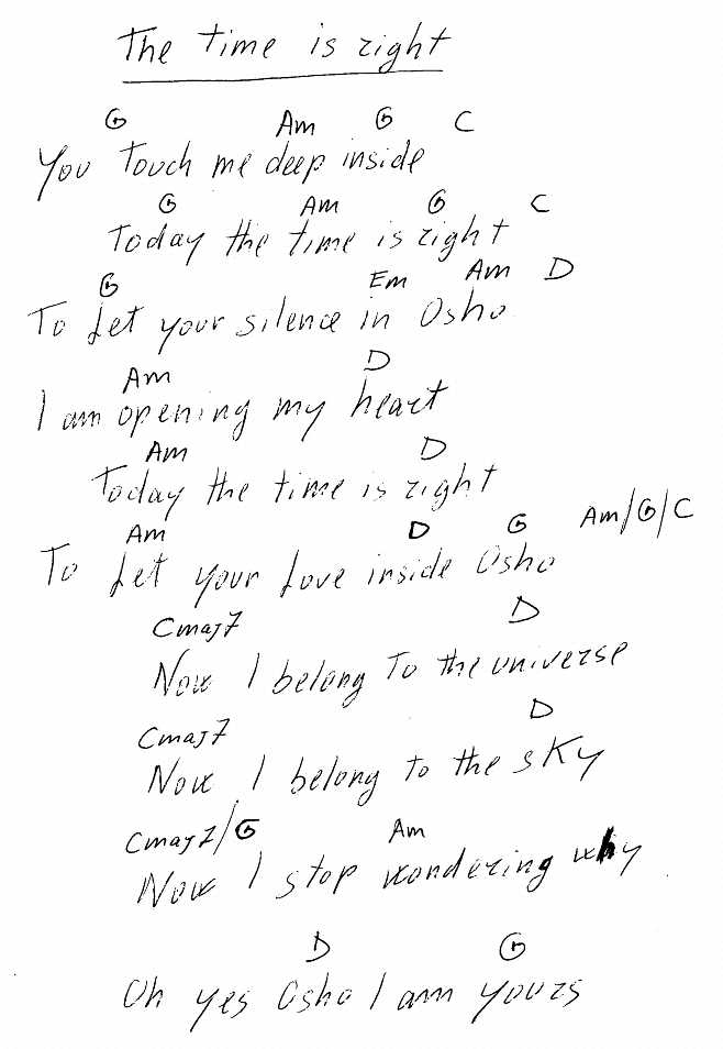 File:The Time Is Right - lyrics and chords.jpg - The Sannyas Wiki